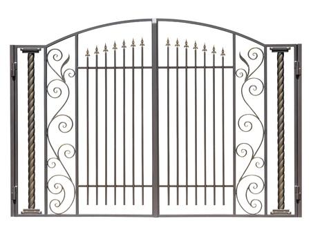 Modern light decorative forged  gates.  Isolated over white background. Stock Photo - 10564105
