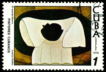 avant:  CUBA - CIRCA 1978: a stamp printed by Cuba  shows a picture of artist  Amelia  Pelaez