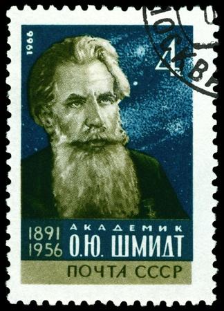 public figure: Russia - CIRCA 1966: A Stamp printed in the Russia shows  Otto Schmidt - the great , physicist, mathematician, public figure, circa 1966
