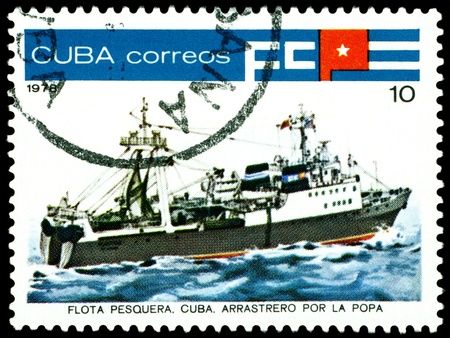 inshore: CUBA- CIRCA 1978: a stamp printed by  Cuba  shows  Inshore  stern trawler, series, circa 1978 Stock Photo