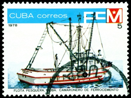 shrimp boat: CUBA- CIRCA 1978: a stamp printed by  Cuba  shows  Shrimp boat , series, circa 1978 Stock Photo