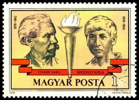 communists: HUNGARY -CIRCA 1978: A Stamp printed in the Hungary  shows portraits Samu Czaban and Gizella Berzeviczy - leaders Hungary communists , circa 1978