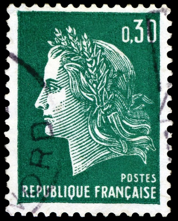 marianne: FRANCE - CIRCA 1967:  A stamp printed in France,  shows  Marianne - Symbol of the French republic, circa 1967.