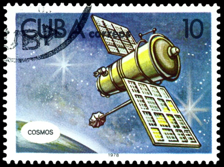 astronautics: CUBA - CIRCA 1978: a stamp printed by Cuba  shows automatic station  in space, series Astronautics day, circa 1978.