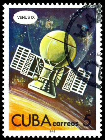 astronautics: CUBA - CIRCA 1978: a stamp printed by Cuba  shows flight  automatic station  Venus IX, series Astronautics day, circa 1978. Stock Photo