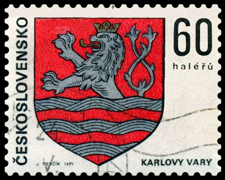 czechoslovak: Czechoslovakia - CIRCA 1971: a stamp printed by Czechoslovakia shows Coats of Arms of Czechoslovak towns. Karlovy Vary, series, circa 1971