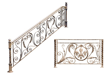 Decorative  fence of the stairways, balcony, gallerie in old-time stiletto. Isolated over white background. photo