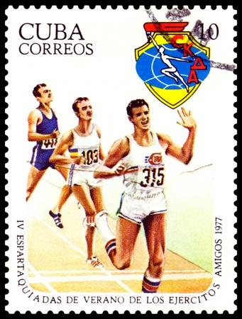 CUBA- CIRCA 1977: a stamp printed by  Cuba, shows Running, 4th Military Spartakiad, series, circa 1977