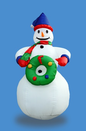 personage: Gay Snowman - loved winter personage. Isolated over blue background