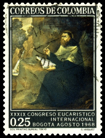theologian: COLOMBIA  - CIRCA 1968: a stamp printed by Colombia shows portrait St. Augustin by Gregorio Vasquez. St. Augustin ( 354 - 430 ) - great christian philosopher and theologian, circa 1968 Stock Photo