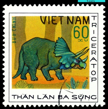 VIETNAM - CIRCA 1978: A stamp  printed  in Vietnam  shows  dinosaur  Triceratop, series  Dinosaurs, circa 1978 photo