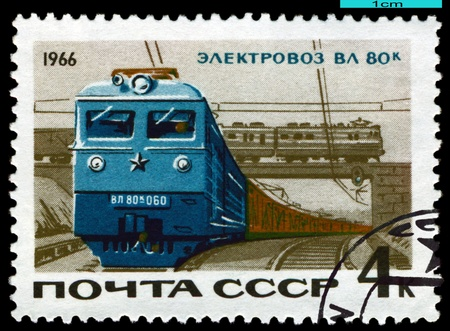 USSR - CIRCA 1966: A Stamp printed in the  USSR  shows  Elektric  locomotive VL 80 k, series, circa 1966 photo