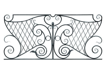 Wrought fence of the balcony, gallery in old-time stiletto. Isolated over white background. photo