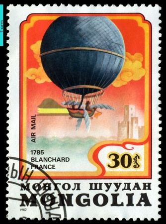 MONGOLIA - CIRCA 1982: A stamp printed by  Mongolia, shows  French air-balloon  photo