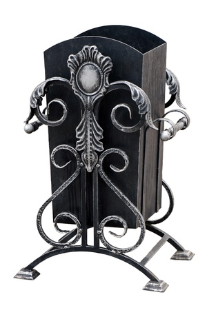 Ornamental urn for rubbish. The Freezing day. Rime. On white background with clipping path. Stock Photo - 12120766