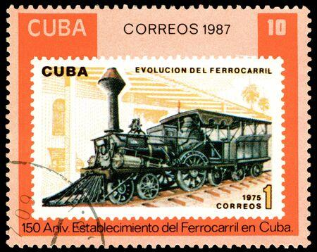 Cuba - CIRCA 1987: A Stamp printed in the  Cuba  shows  antique  locomotive, series, circa 1987