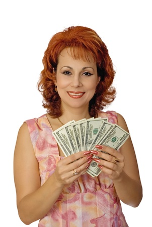 The cheerful nice woman showing cash and a smile photo