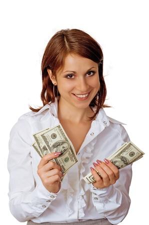 Die fröhliche junge Frau zeigt Bargeld, Lächeln und Selbst-Vertrauen Standard-Bild - 12374133