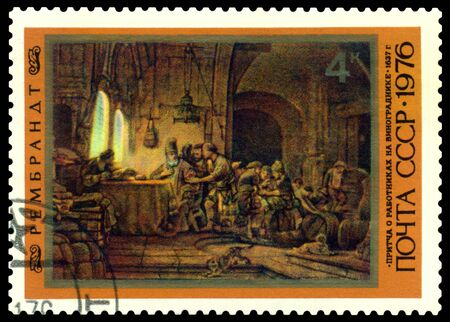 rembrandt: USSR - CIRCA 1976: a stamp printed by USSR   shows  a picture of artist  Rembrandt