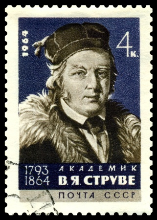 astronomer: USSR - CIRCA 1964  A Stamp printed in the USSR  shows  Academician V  Struve   1793 - 1864  - the great russian  astronomer, circa 1966