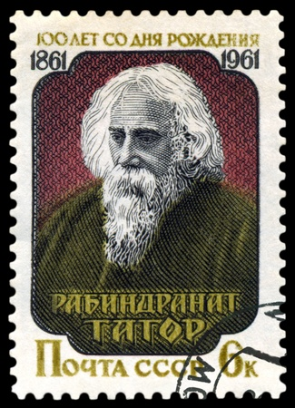 USSR -CIRCA 1961  A Stamp printed in the USSR  shows Rabindranath Tagore - the great Indian poet , circa 1961