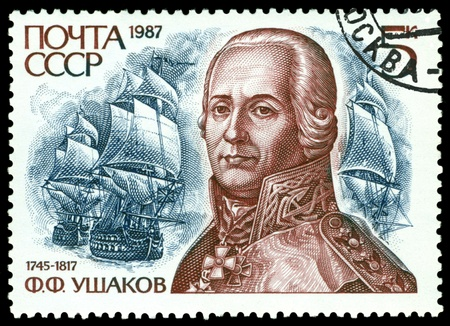 USSR - CIRCA 1987  A stamp printed in USSR, shows portrait russian  Admiral  F  F  Ushakov 1745-1817 , Storming of Cofru, circa 1987  Stock Photo - 12904099
