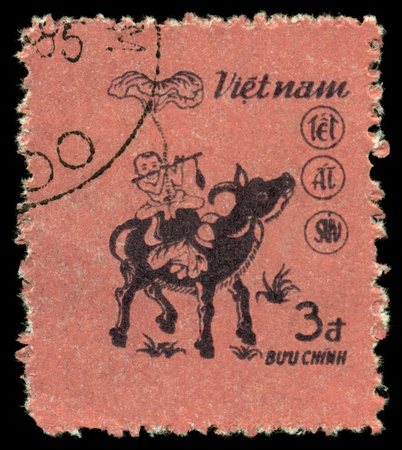 VIETNAM - CIRCA 1985  A stamp printed in Vietnam  shows  Water Buffalo - Symbol of the  Nev Year 1985 , circa 1985 photo