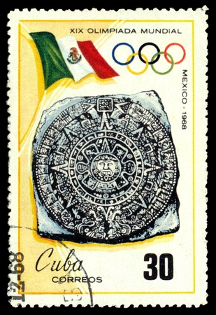 olympic symbol:  CUBA- CIRCA 1968  a stamp printed by   Cuba shows symbol , Olympic games in Mexiko, circa 1968