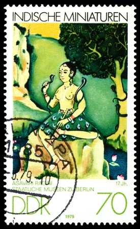 GDR - CIRCA 1979   A stamp printed in GDR  shows Indian Miniatures, Asavari Ragini,  17th cent , Berlin Museum,  series, circa 1979