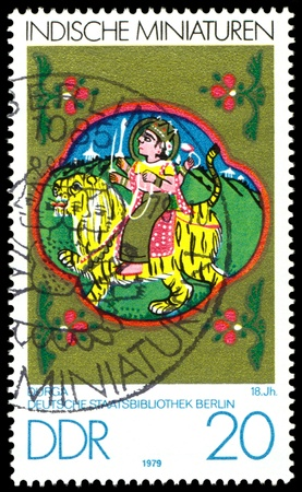 GDR - CIRCA 1979   A stamp printed in GDR  shows Indian Miniatures, Durga,  18th cent , Berlin Museum,  series, circa 1979  Stock Photo - 13436599