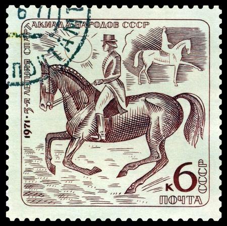 USSR - CIRCA 1971  a stamp printed by USSR shows  Dressage  V Sports festival  folk USSR, circa 1971  photo