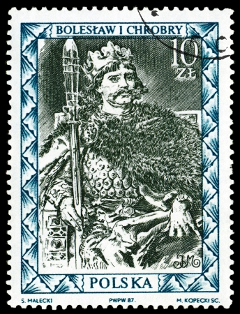 POLAND  - CIRCA 1987  a stamp printed by Poland shows portrait King Boleslav Brave  First King of the Poland  967 - 1025 , circa 1987 Stock Photo - 14890055