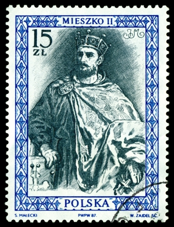 postmail: POLAND  - CIRCA 1987  a stamp printed by Poland shows portrait King Mieszko II  King of the Poland  990 - 1034 , circa 1987