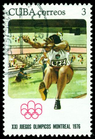 olympic games: CUBA - CIRCA 1977  a stamp printed  Cuba, shows Broad jump  Olympic games in Montreal, circa 1976 Cuba