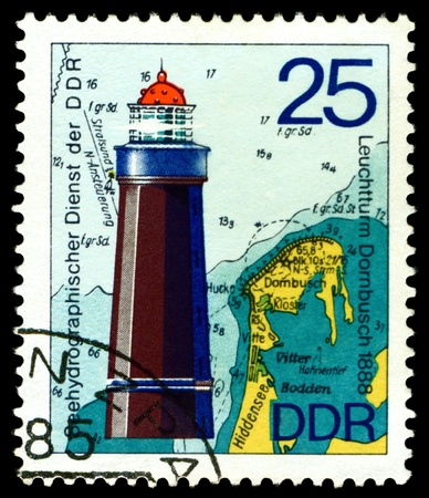 GERMANY - CIRCA 1975  stamp printed by Germany, shows Lighthouse Dornbusch   1888 , Series Lighthouses, Maps and Nautical Charts, circa 1975   photo