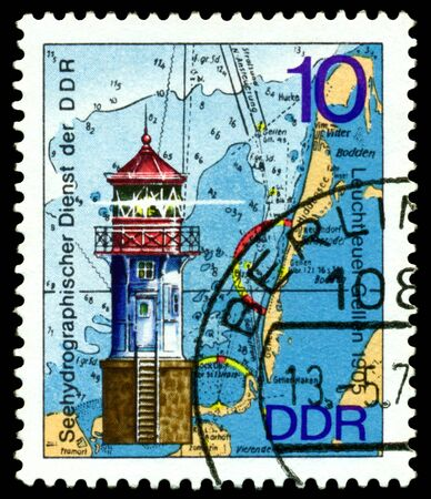 GERMANY - CIRCA 1975  stamp printed by Germany, shows Lighthouse Gellen   1872 , Series Lighthouses, Maps and Nautical Charts, circa 1975   photo