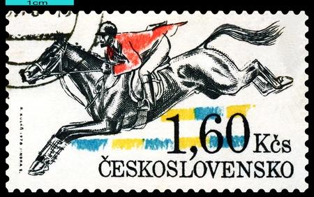 hurdling: CZECHOSLOVAKIA - CIRCA 1978   a stamp printed by Czechoslovakia shows  Hurdling  Pardubice Steeplechase, circa 1978