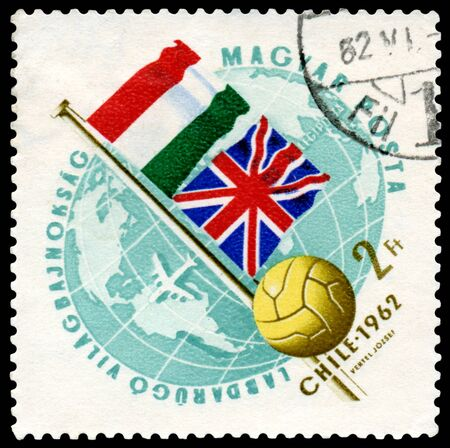 Hungary - CIRCA 1962  a stamp printed by Hungary shows flag of Hungary and England  World  football cup in Chile, circa 1962 photo