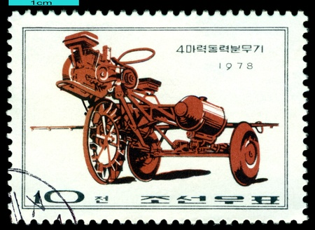 DPR KOREA - CIRCA 1978  a stamp printed by  DPR Korea , shows  Light tractor, Farm  Machines, circa 1978