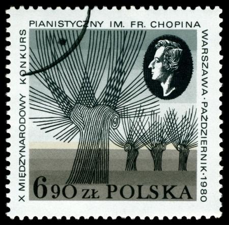frederic: POLONIA - CIRCA 1980: Un sello impreso en Polonia muestra el retrato de Frederic Chopin - el gran compositor Polonia, Chopin Piano Competition, Varsovia, alrededor de 1980