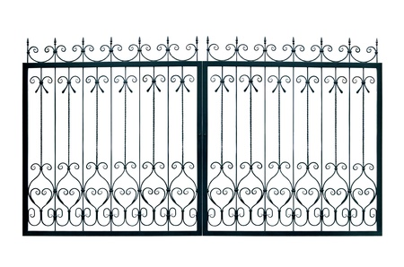 Light  forged  decorative gates.  Isolated over white background. photo