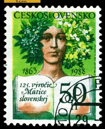 CZECHOSLOVAKIA  - CIRCA 1988  a stamp printed by Czechoslovakia shows  portrait of the young women  Matice Slovenska Cultural Assoc , 125th Anniv , circa 1988