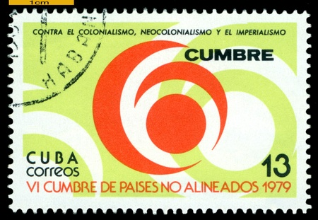 philately: CUBA - CIRCA 1979  A Stamp printed in the Cuba shows  Symbols 6 Summit Meeting of Non - Aligned Countries, circa 1979