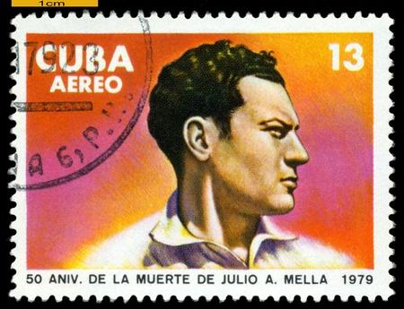 Cuba -CIRCA 1979: A Stamp printed in the Cuba   shows portrait Julio A. Mella. Founder to communist party Cubes. Cuban revolution, Scott 2004 catalogue number C315, circa 1979