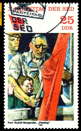 festivities: GERMANY - CIRCA 1981: stamp printed by Germany, shows shows painting  Festivities by  Rudolf  Bergander, 10th Communist Party Congress ( Paintings), circa 1981. Editorial
