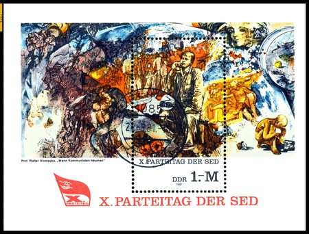 GERMANY - CIRCA 1981: stamp printed by Germany, shows shows painting  When Communists Dream by  Walter Womacka, 10th Communist Party Congress ( Paintings), circa 1981. Stock Photo - 17741926