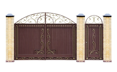 Modern  forged  decorative  gates for building   Isolated over white background  photo