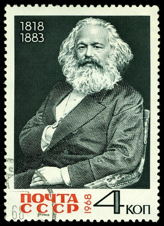 marx:  USSR - CIRCA 1968: A Stamp printed in the USSR  shows portrait Karl Marx, circa 1968.