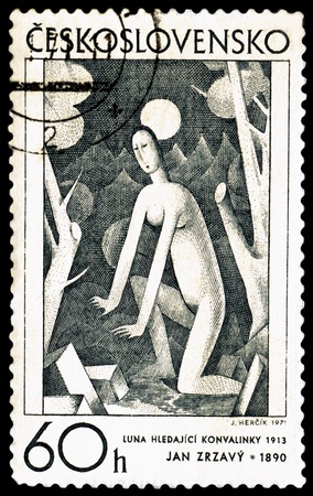 Czechoslovakia - CIRCA 1971  a stamp printed by Czechoslovakia shows a picture of artist Jan Zrzavy  The moon and the woman, circa 1971