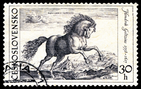 Czechoslovakia - CIRCA 1969  a stamp printed by Czechoslovakia shows a picture of artist Hendrik Goltzius  Beautiful horse, circa 1969